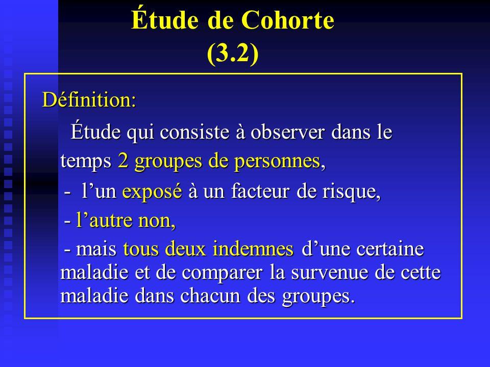 Étude de Cohorte (3.2) Définition: