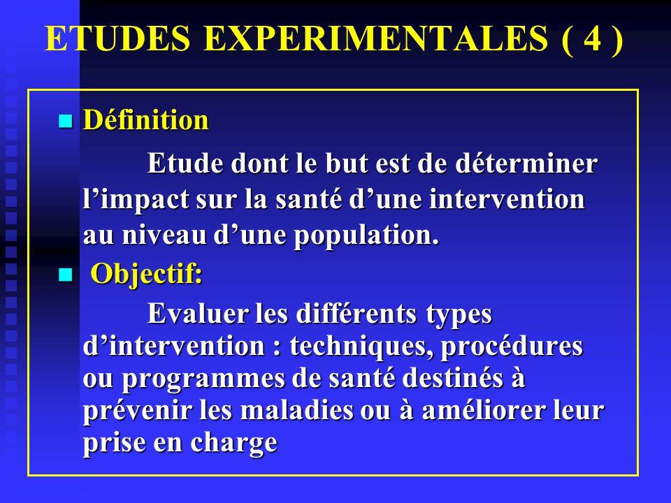 ETUDES EXPERIMENTALES ( 4 )