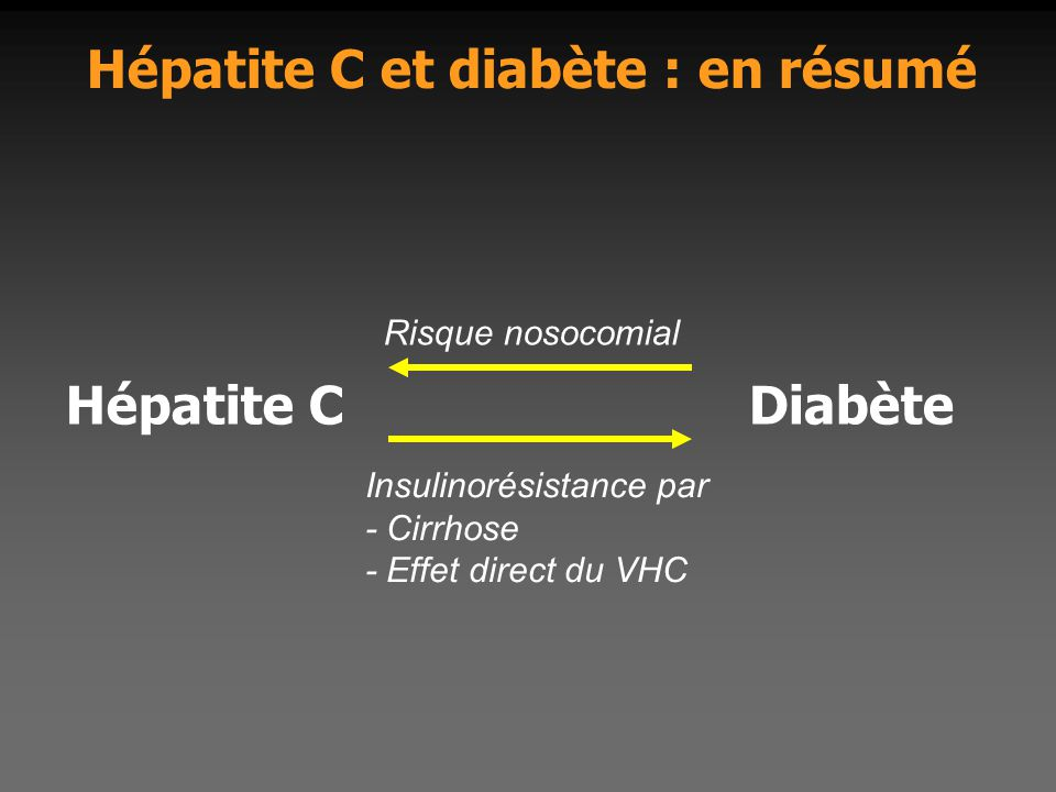 Hépatite C et diabète : en résumé