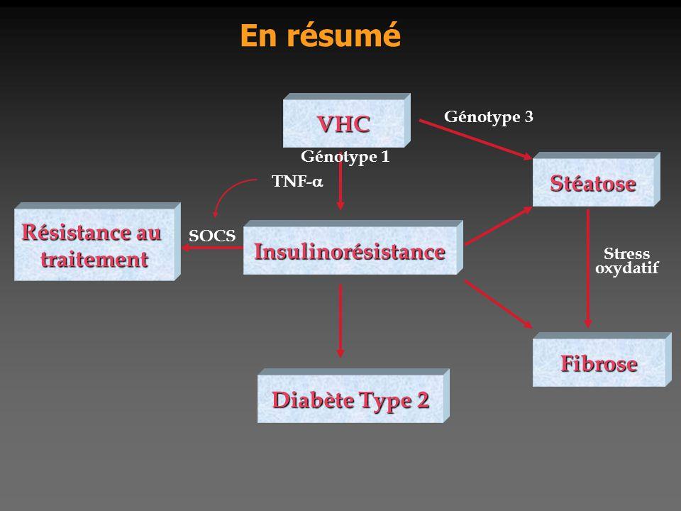 En résumé VHC Stéatose Résistance au traitement Insulinorésistance
