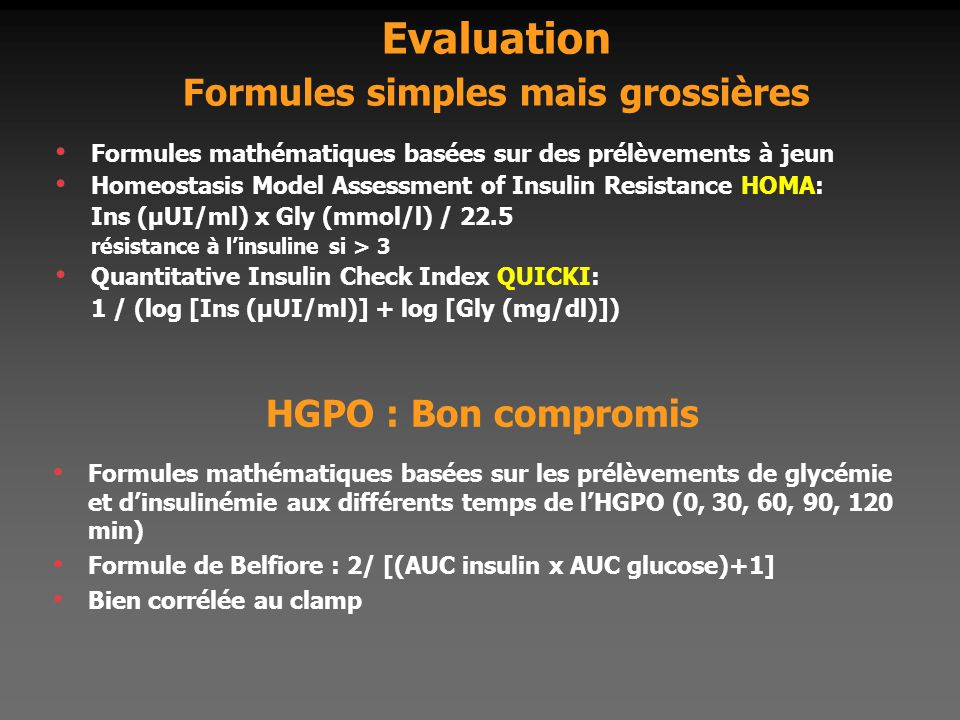 Evaluation Formules simples mais grossières