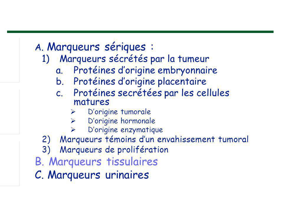 C. Marqueurs urinaires A. Marqueurs sériques :