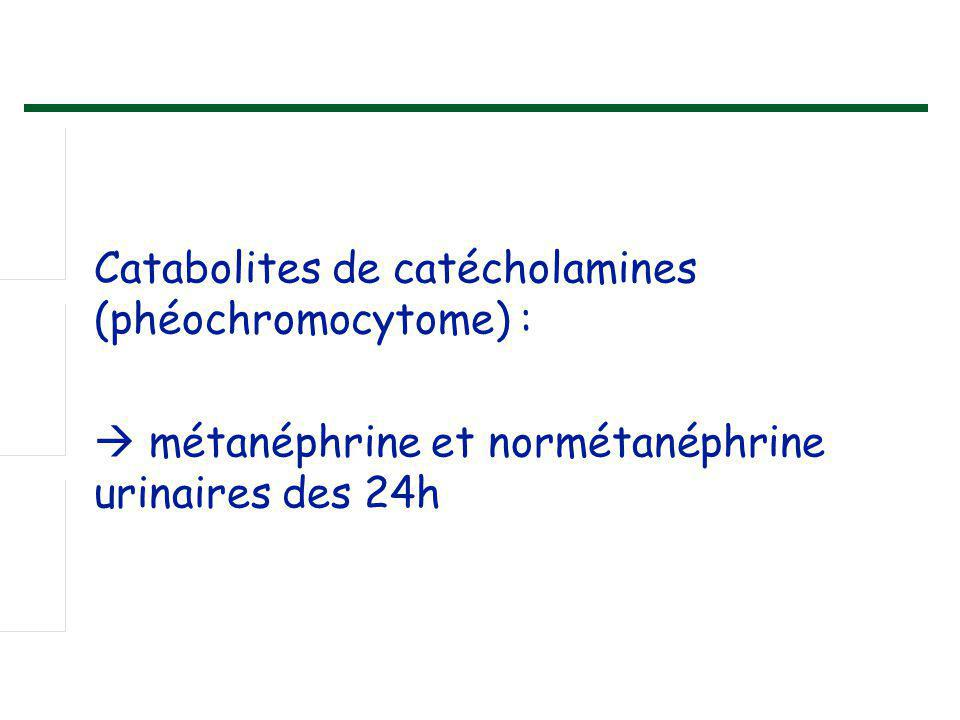 Catabolites de catécholamines (phéochromocytome) :  métanéphrine et normétanéphrine urinaires des 24h