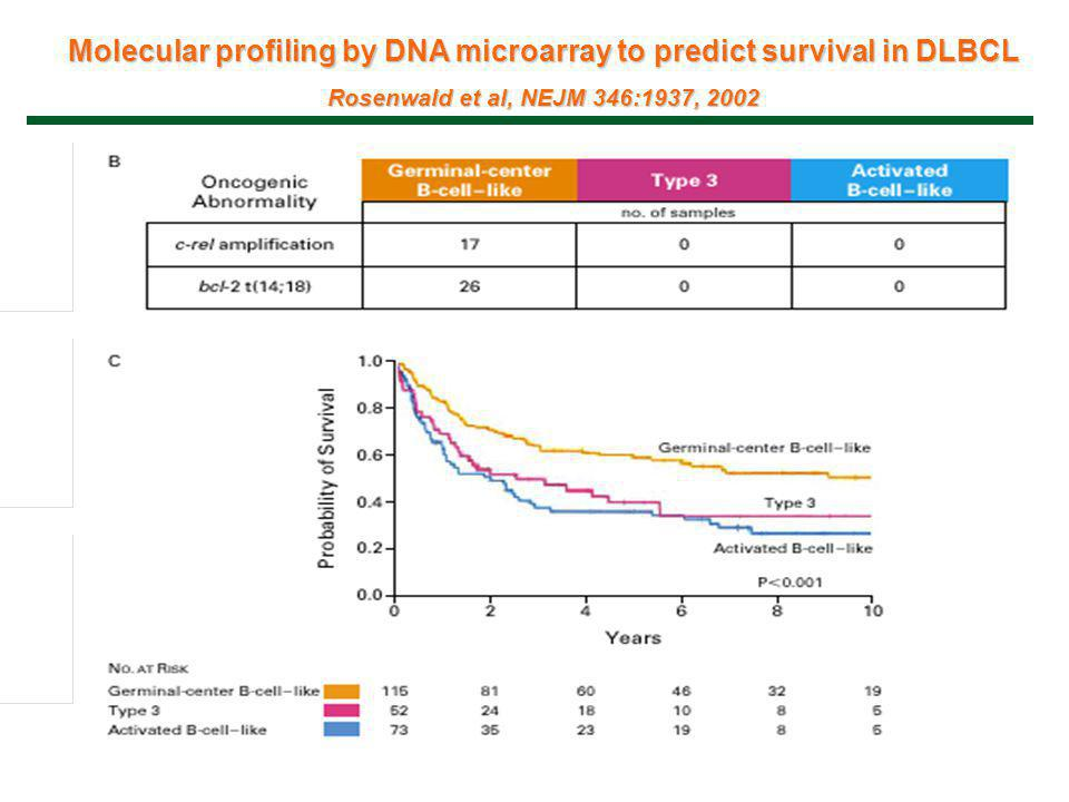 Molecular profiling by DNA microarray to predict survival in DLBCL