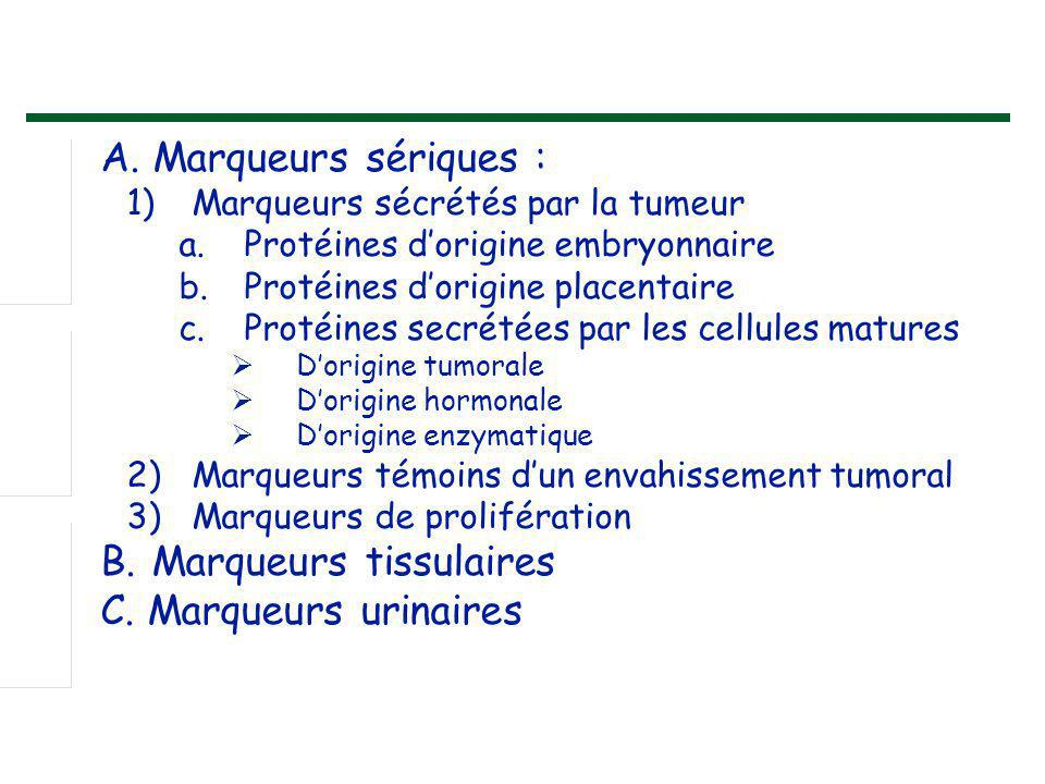 A. Marqueurs sériques : C. Marqueurs urinaires