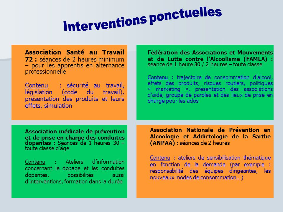 Interventions ponctuelles