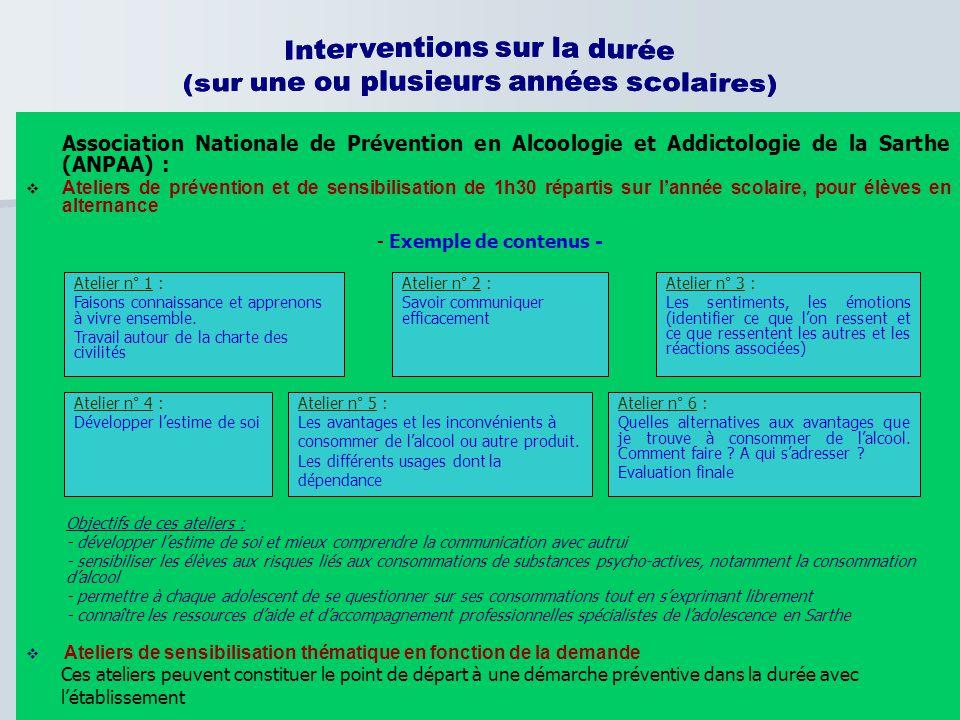 Interventions sur la durée (sur une ou plusieurs années scolaires)
