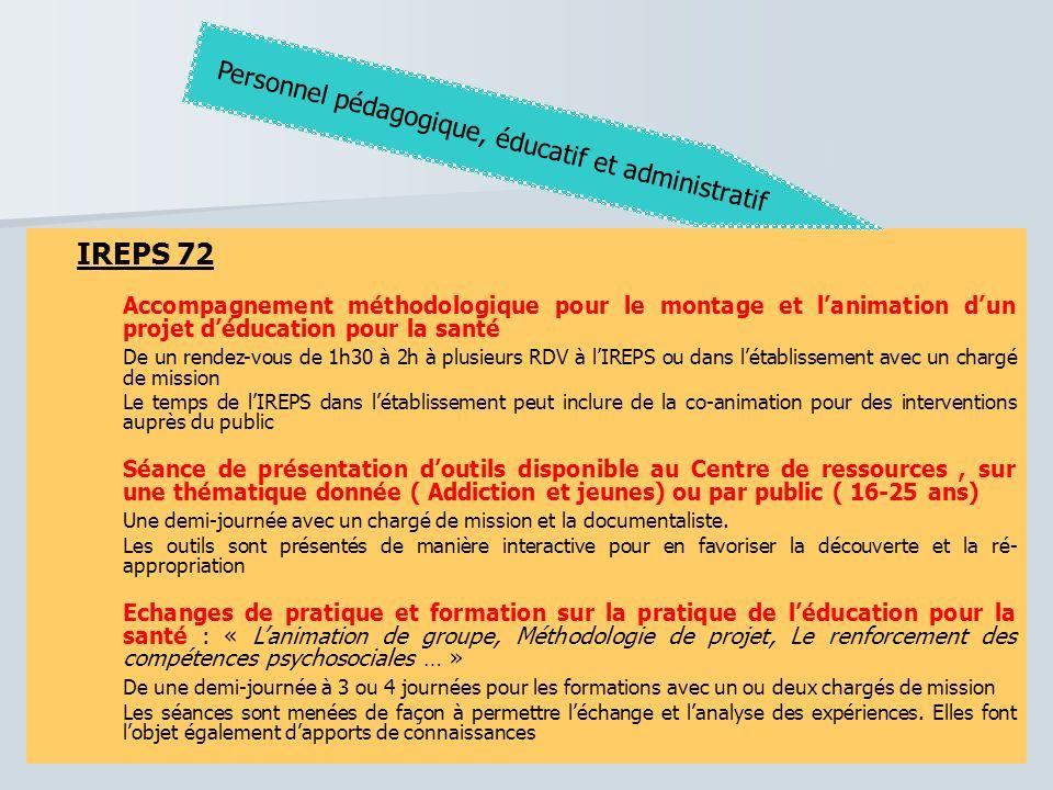 IREPS 72 IREPS 72 Personnel pédagogique, éducatif et administratif
