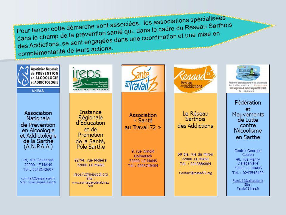 Pour lancer cette démarche sont associées, les associations spécialisées dans le champ de la prévention santé qui, dans le cadre du Réseau Sarthois des Addictions, se sont engagées dans une coordination et une mise en complémentarité de leurs actions.