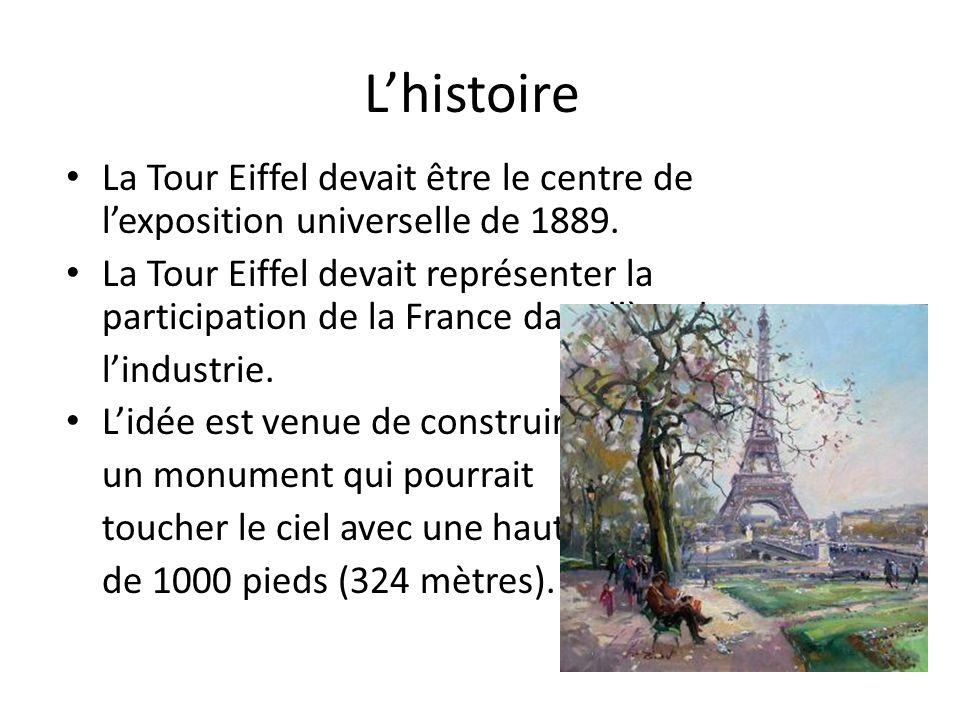 L'histoire La Tour Eiffel devait être le centre de l'exposition universelle de 1889.