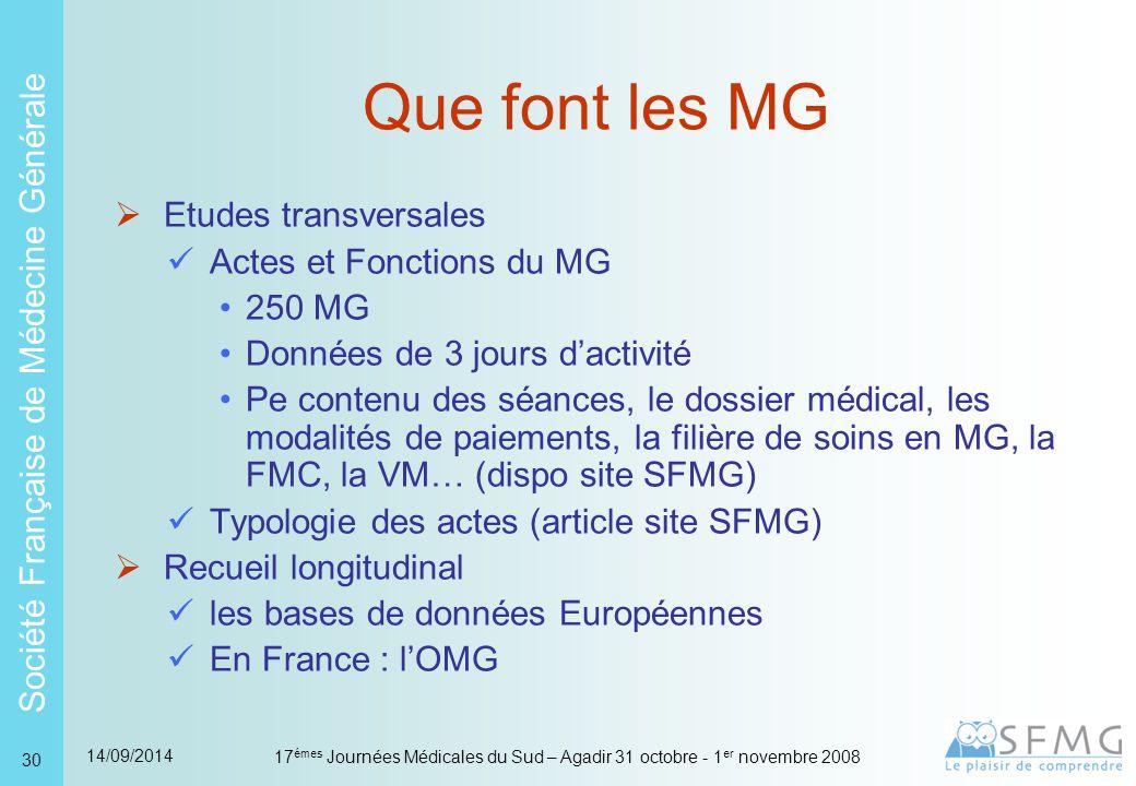 Que font les MG Pourquoi le savoir connaître l'activité des MG