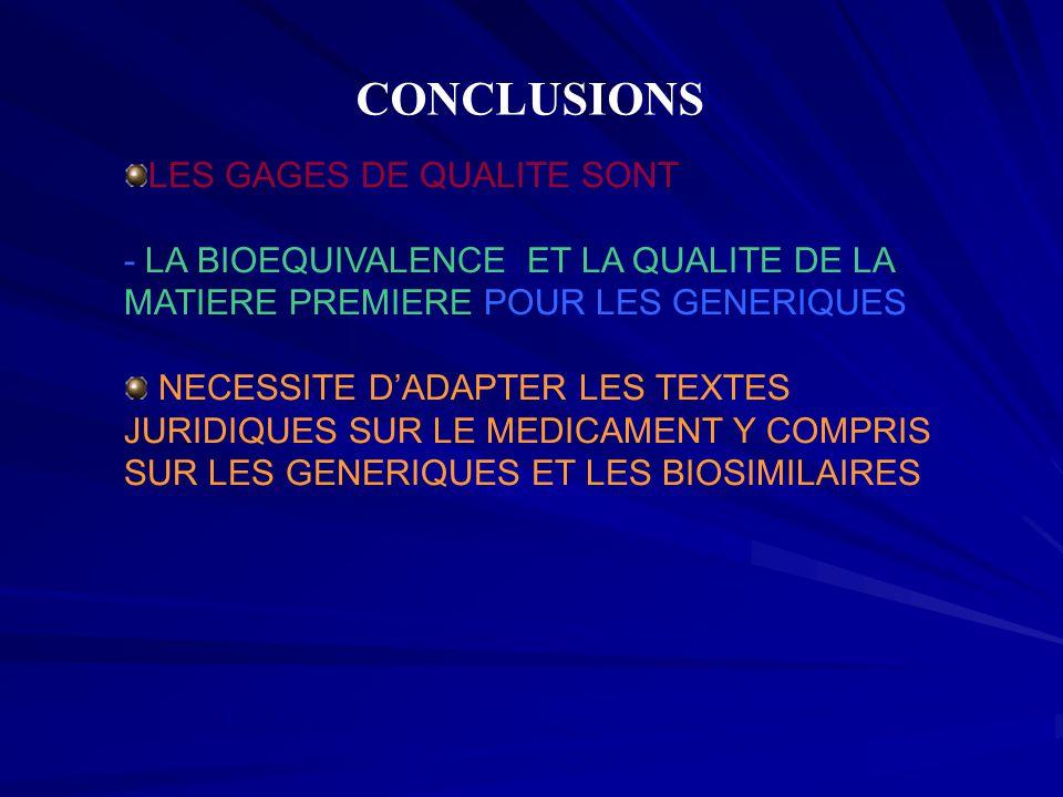 CONCLUSIONS LES GAGES DE QUALITE SONT