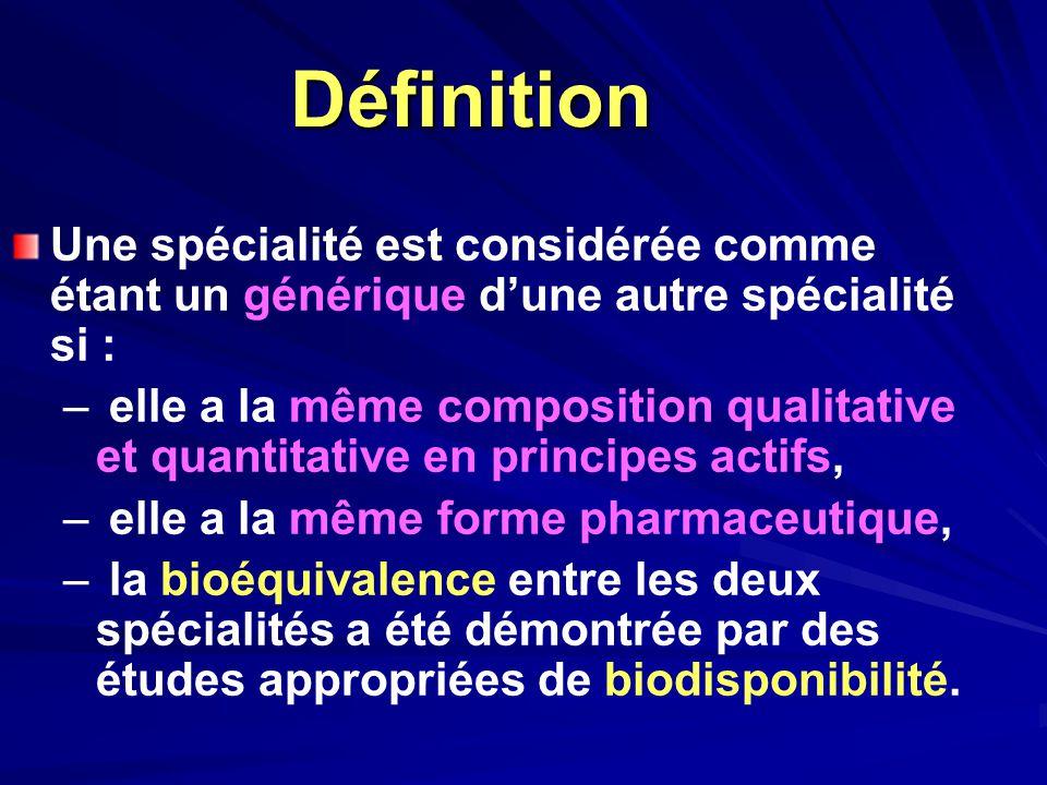 Définition Une spécialité est considérée comme étant un générique d'une autre spécialité si :