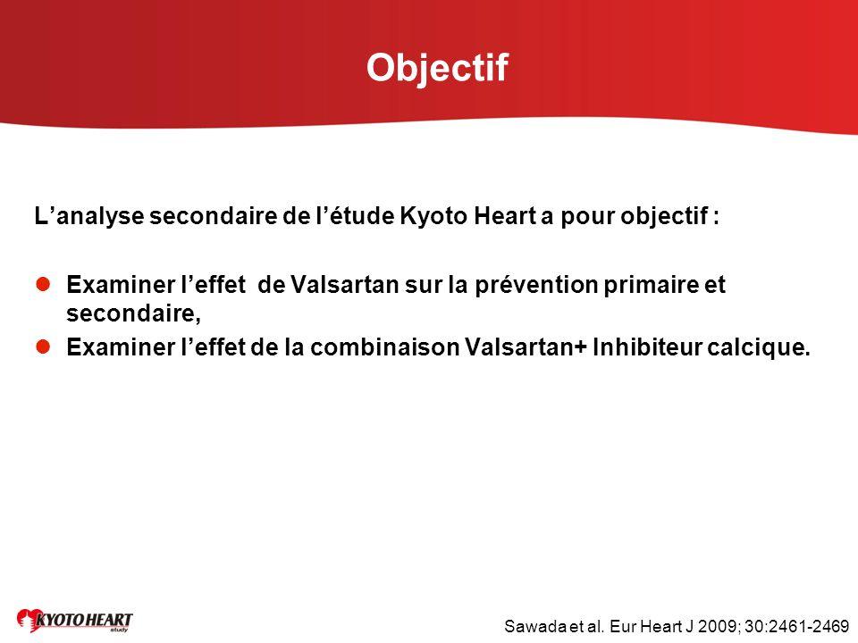 Objectif L'analyse secondaire de l'étude Kyoto Heart a pour objectif :