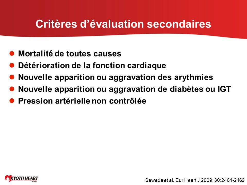 Critères d'évaluation secondaires