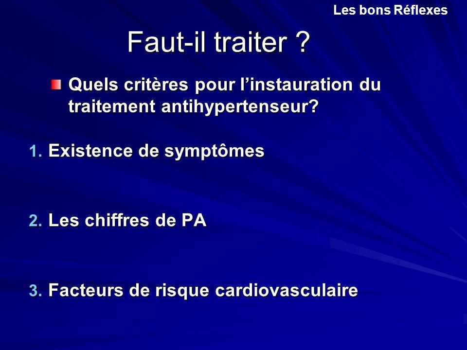 Les bons Réflexes Faut-il traiter Quels critères pour l'instauration du traitement antihypertenseur
