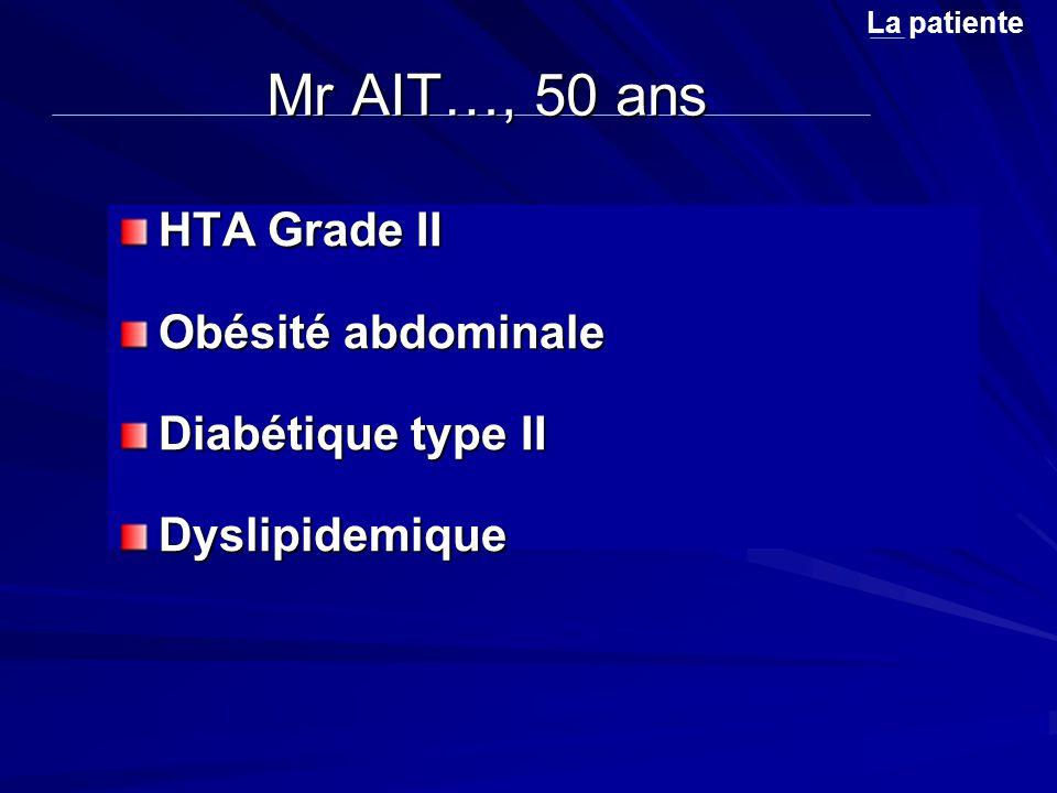 Mr AIT…, 50 ans HTA Grade II Obésité abdominale Diabétique type II