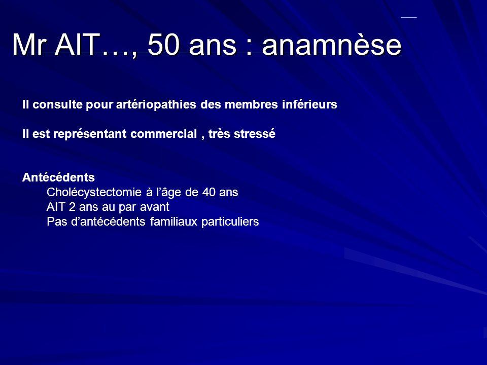 Mr AIT…, 50 ans : anamnèse II consulte pour artériopathies des membres inférieurs. II est représentant commercial , très stressé.
