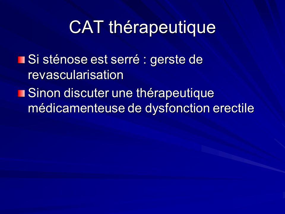 CAT thérapeutique Si sténose est serré : gerste de revascularisation