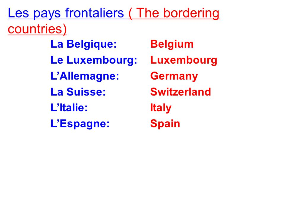 Les pays frontaliers ( The bordering countries)) 34