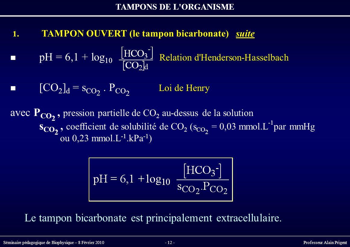 avec PCO2 , pression partielle de CO2 au-dessus de la solution