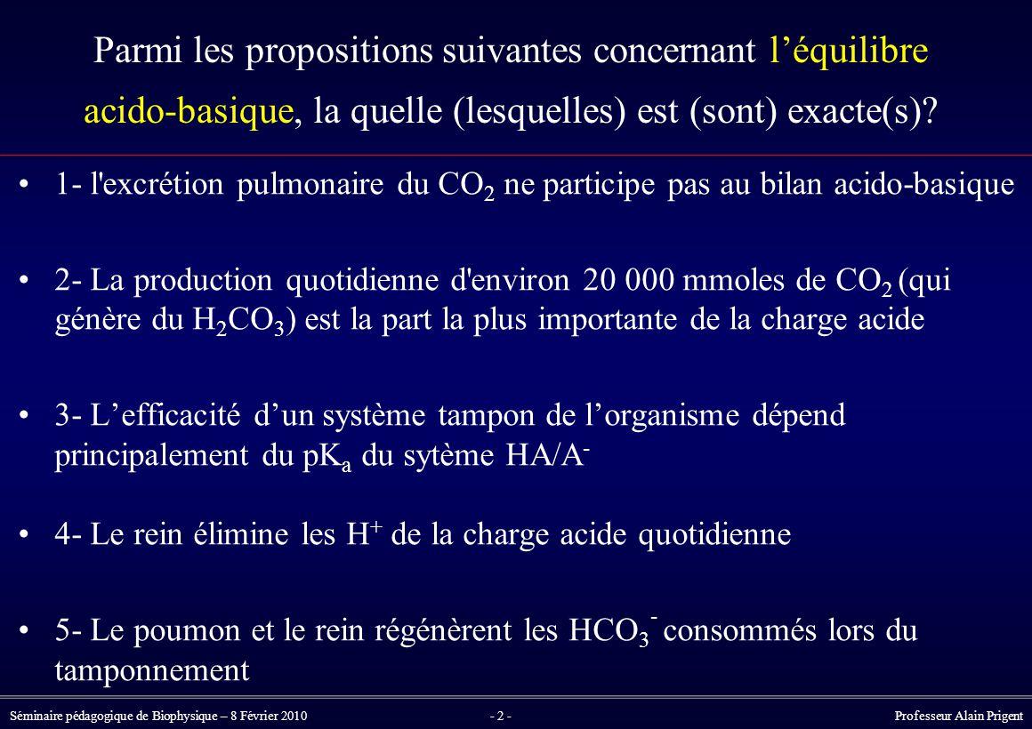 Parmi les propositions suivantes concernant l'équilibre acido-basique, la quelle (lesquelles) est (sont) exacte(s)