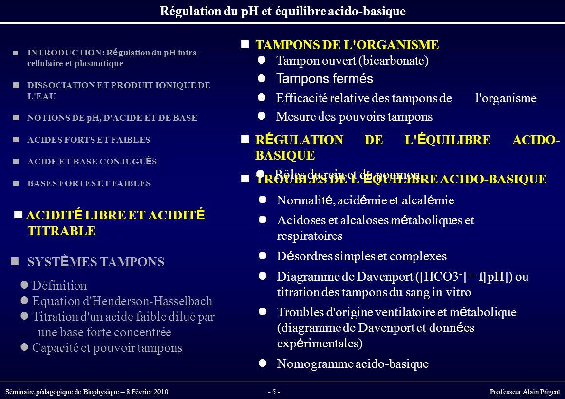Régulation du pH et équilibre acido-basique