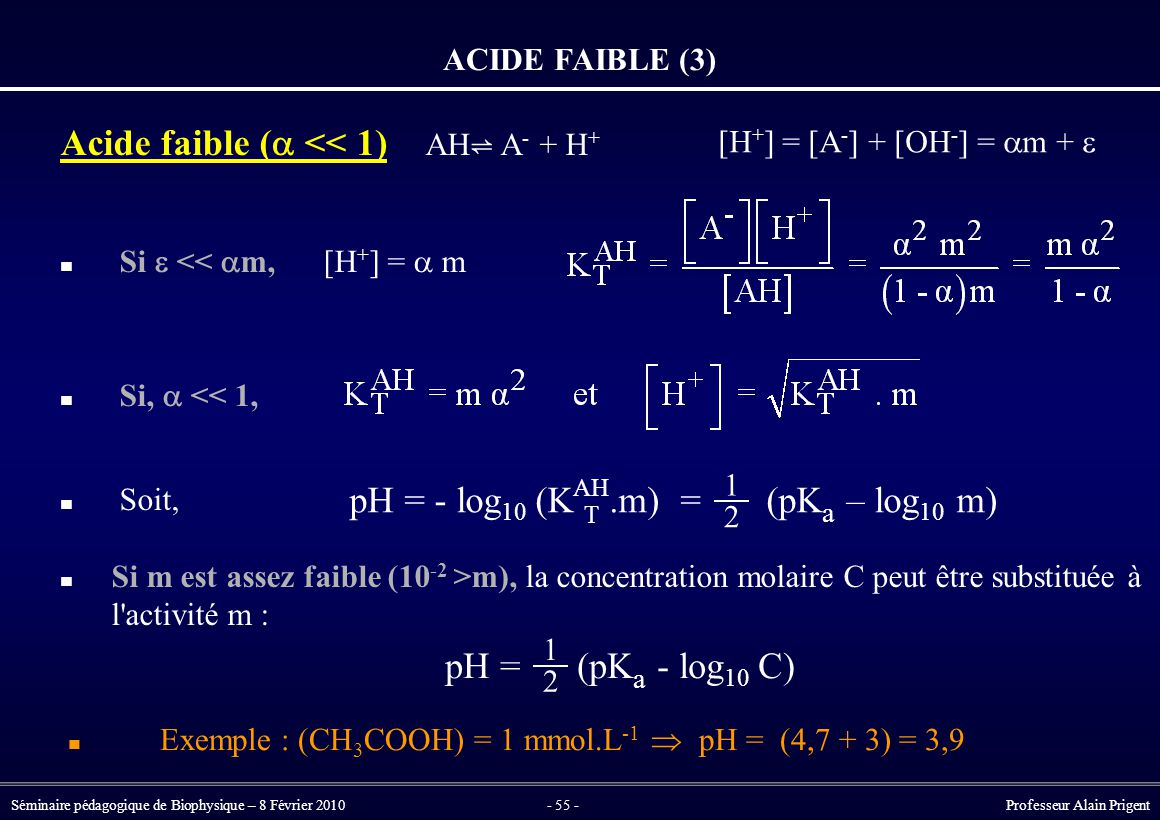 Acide faible (a << 1) AH⇌ A- + H+