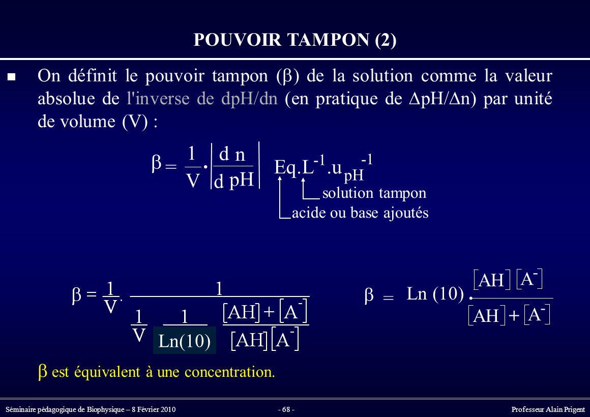 b = 1 V . d n pH Eq . L .u POUVOIR TAMPON (2)  = Ln (10) . AH A +