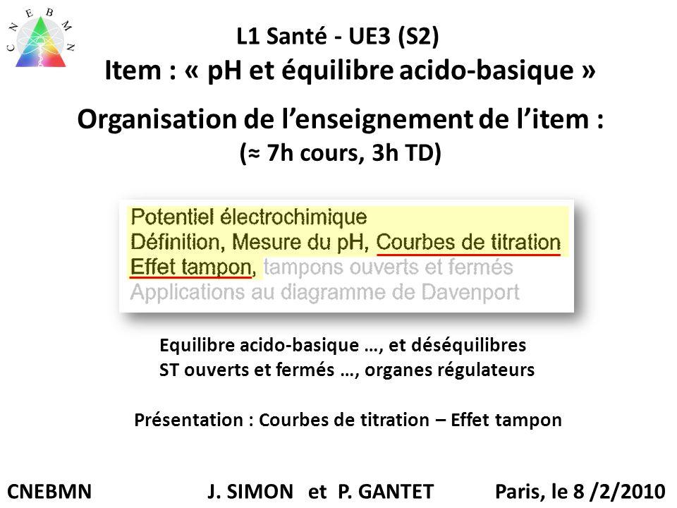 Organisation de l'enseignement de l'item : (≈ 7h cours, 3h TD)