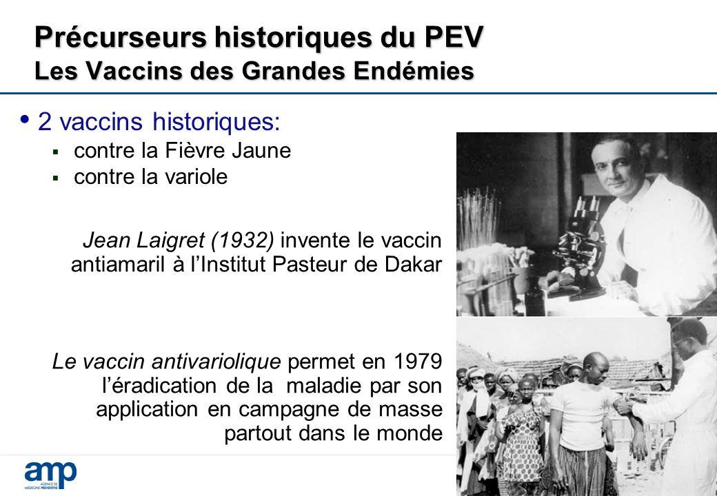Précurseurs historiques du PEV Les Vaccins des Grandes Endémies