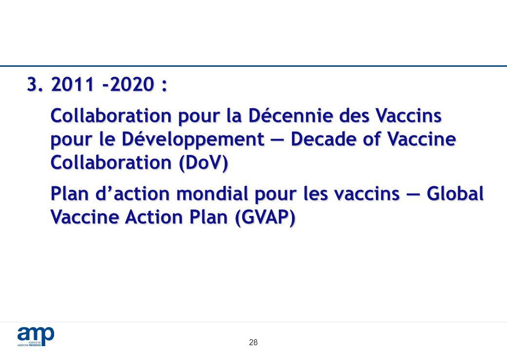 3. 2011 -2020 : Collaboration pour la Décennie des Vaccins pour le Développement — Decade of Vaccine Collaboration (DoV)