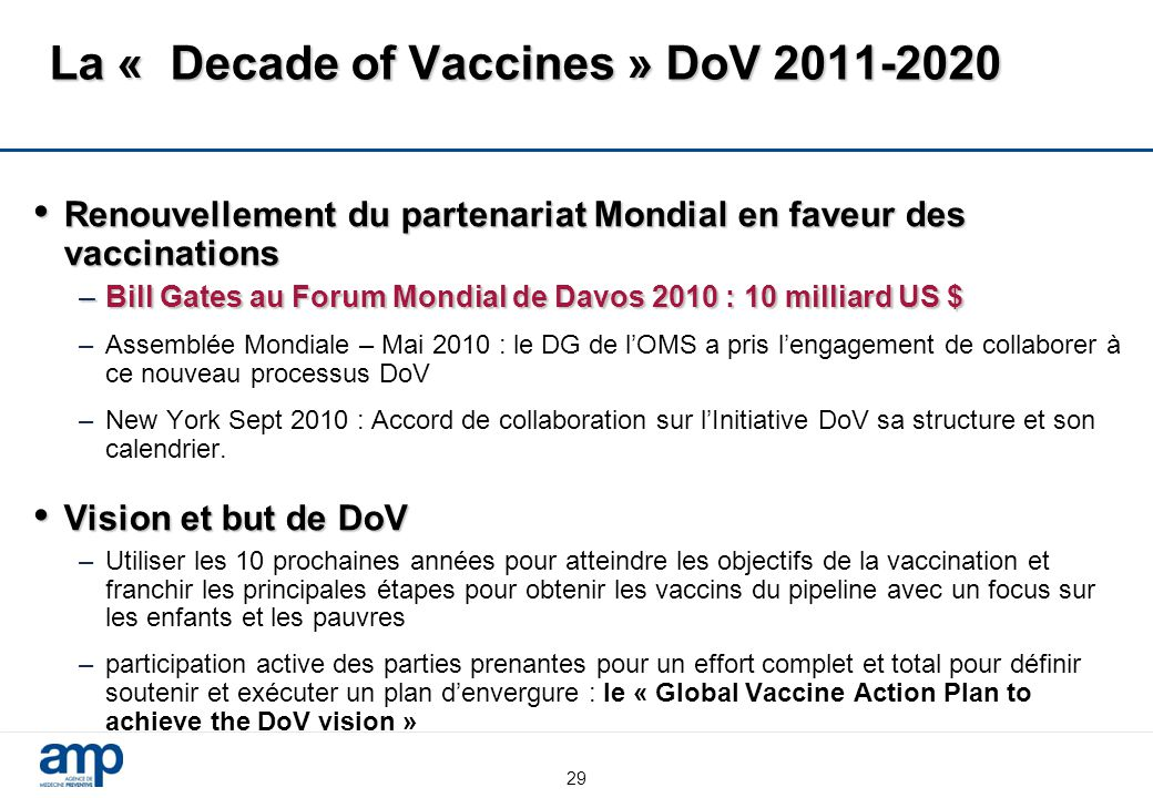 La « Decade of Vaccines » DoV 2011-2020