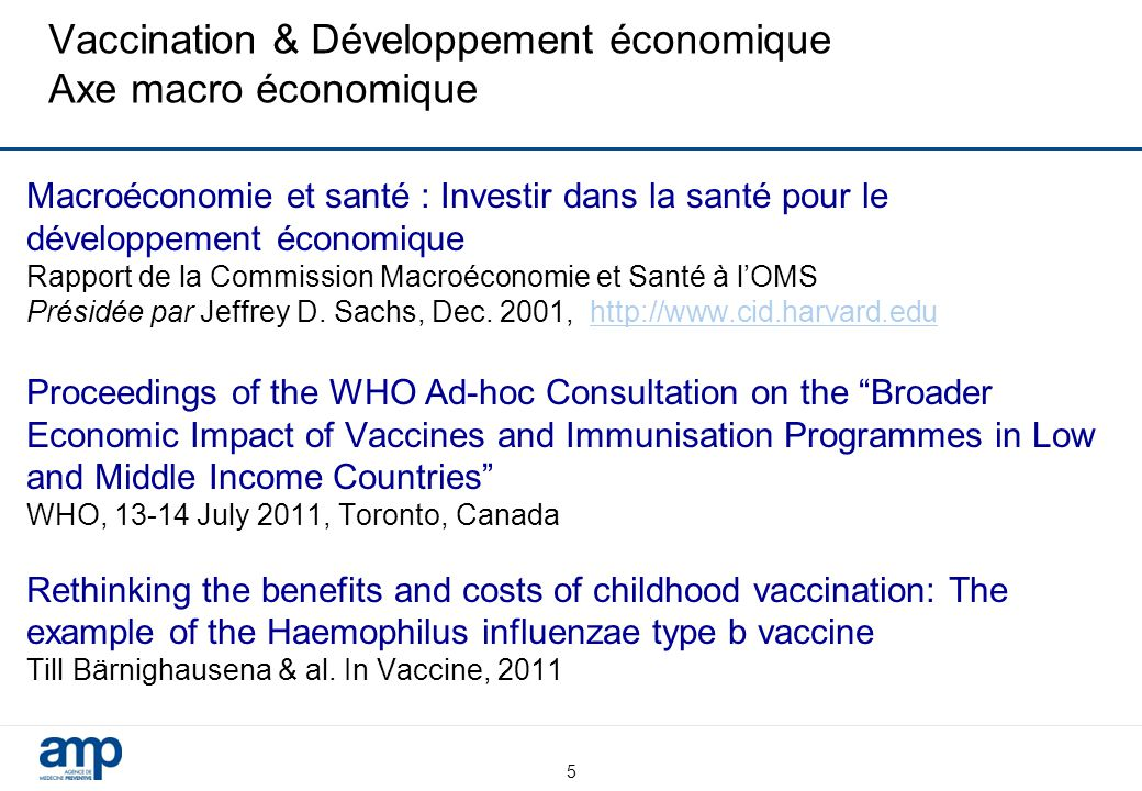 Vaccination & Développement économique Axe macro économique
