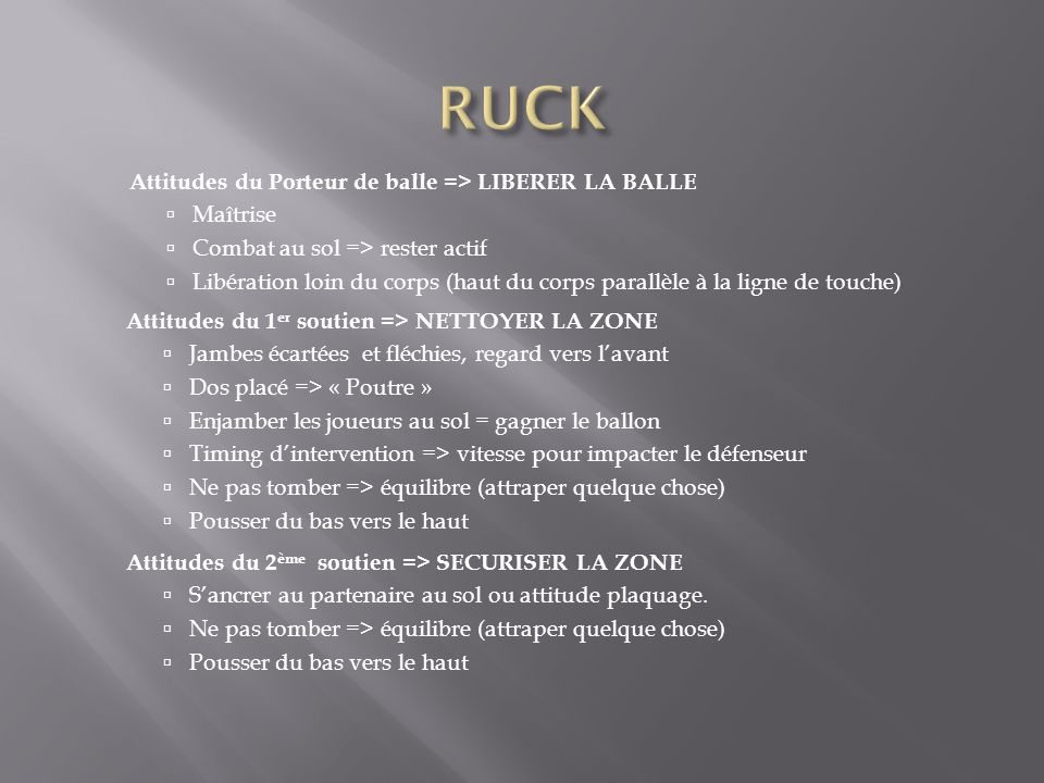 RUCK Attitudes du Porteur de balle => LIBERER LA BALLE Maîtrise