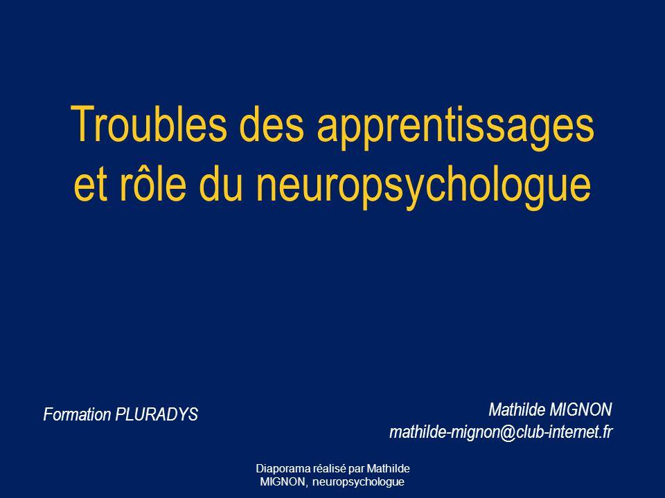Troubles des apprentissages et rôle du neuropsychologue