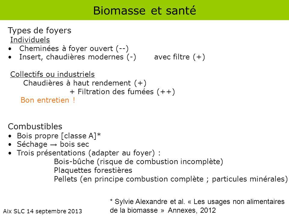 Biomasse et santé Types de foyers Combustibles Individuels