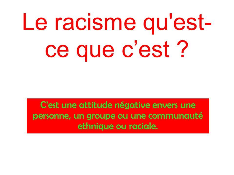 Le racisme qu est-ce que c'est
