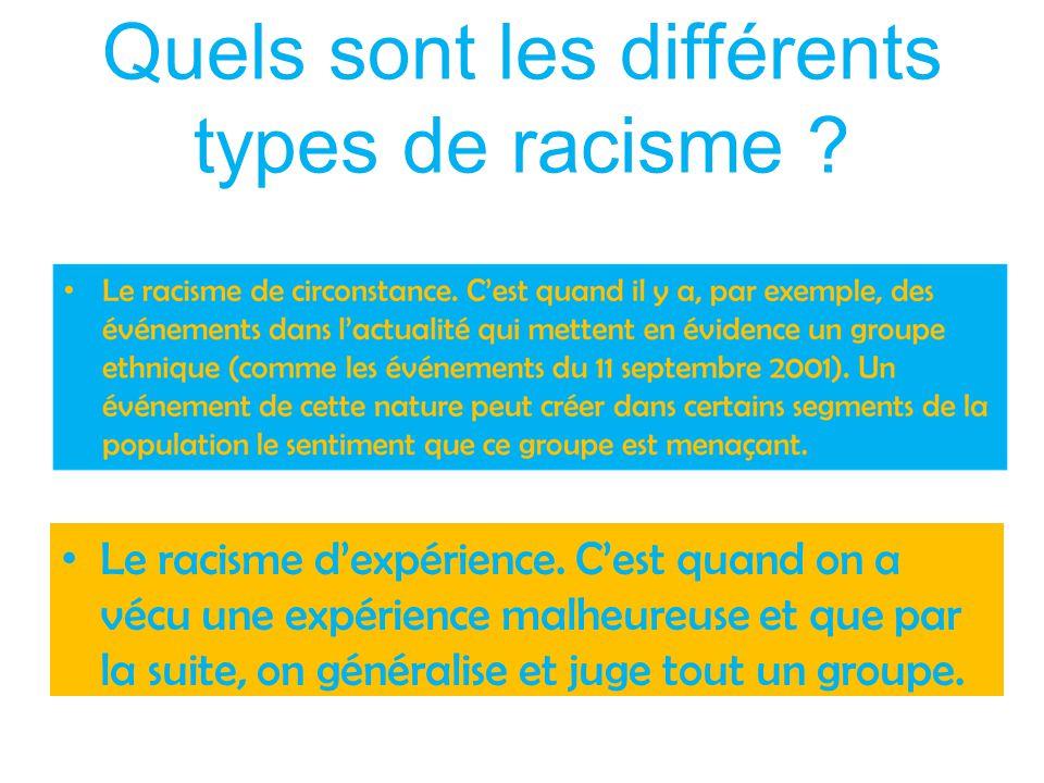 Quels sont les différents types de racisme