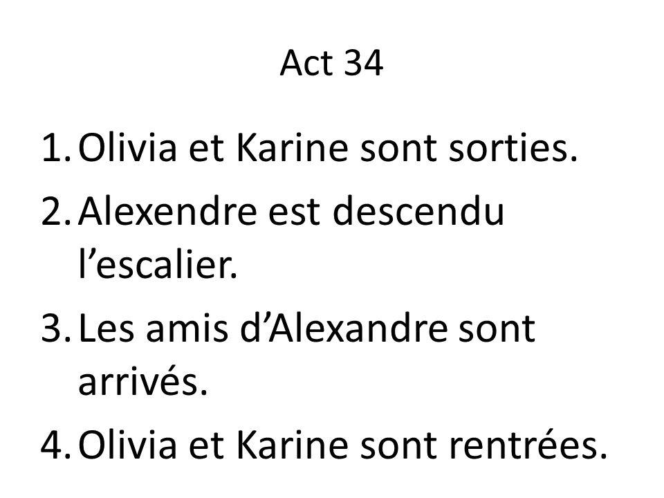 Olivia et Karine sont sorties. Alexendre est descendu l'escalier.