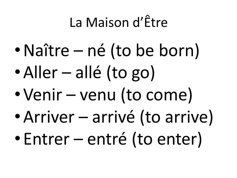 Arriver – arrivé (to arrive) Entrer – entré (to enter)
