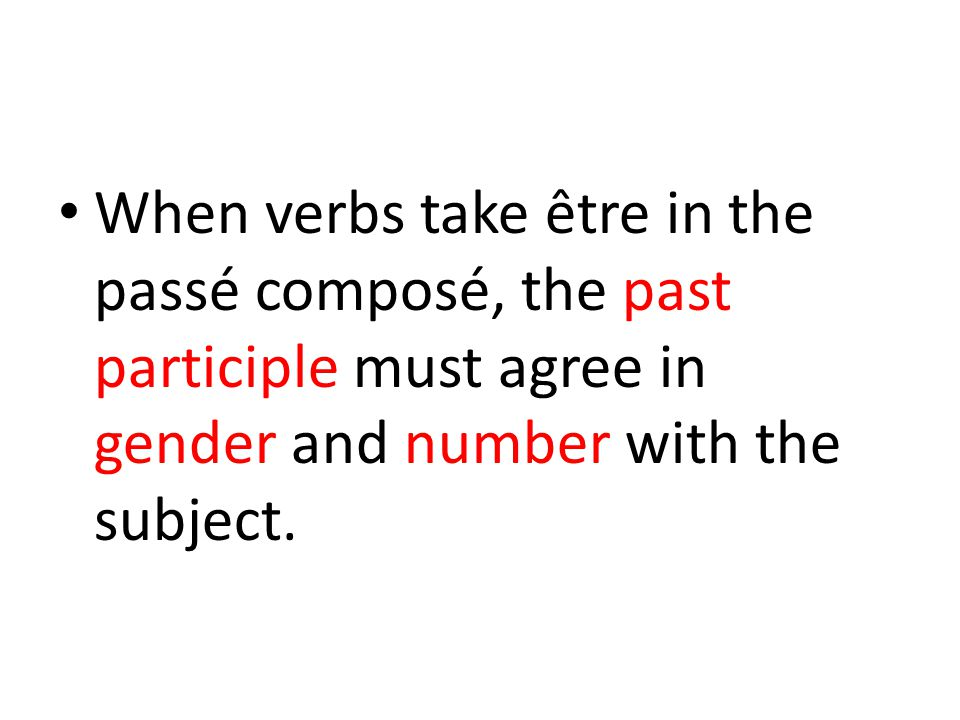 When verbs take être in the passé composé, the past participle must agree in gender and number with the subject.