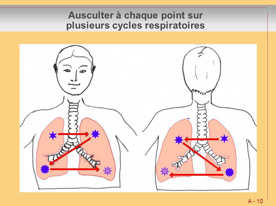 Ausculter à chaque point sur plusieurs cycles respiratoires