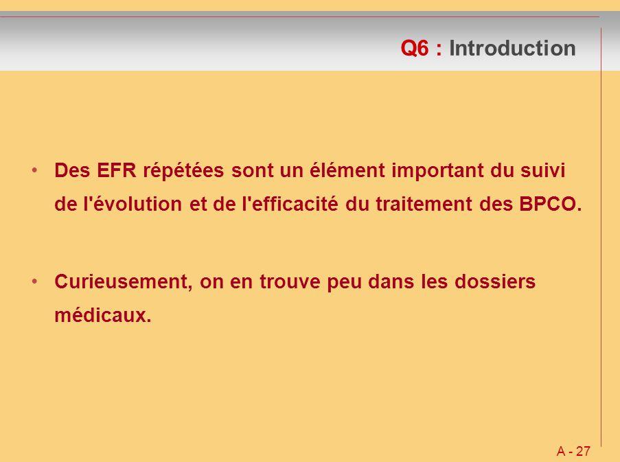 Q6 : Introduction Des EFR répétées sont un élément important du suivi de l évolution et de l efficacité du traitement des BPCO.