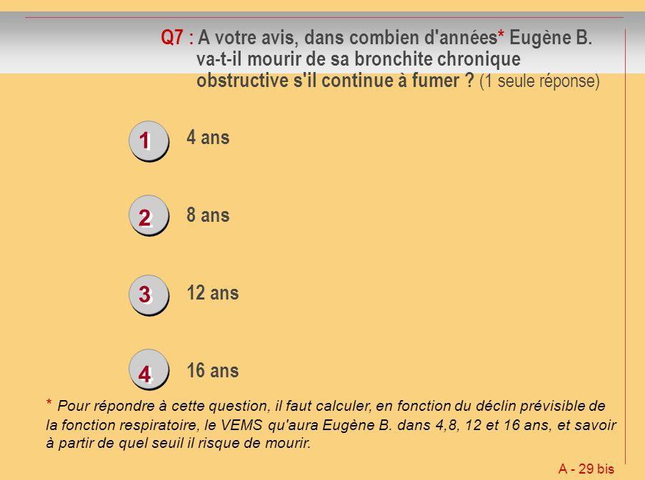 Q7 : A votre avis, dans combien d années. Eugène B