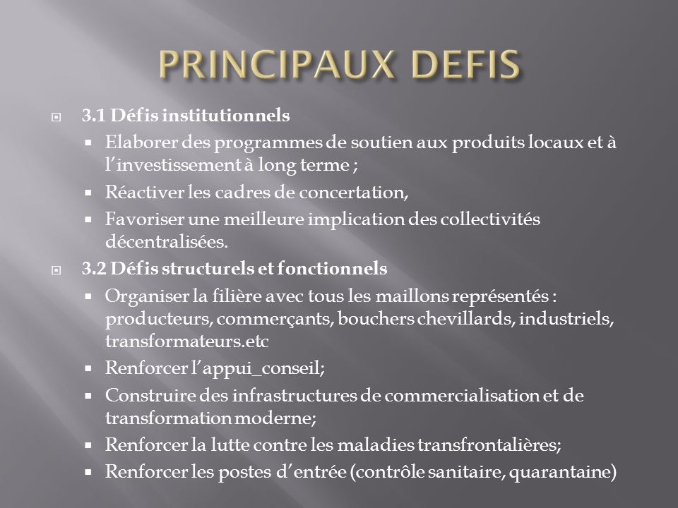 PRINCIPAUX DEFIS 3.1 Défis institutionnels