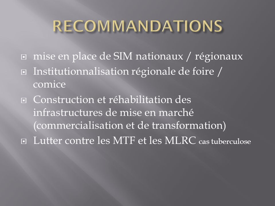 RECOMMANDATIONS mise en place de SIM nationaux / régionaux