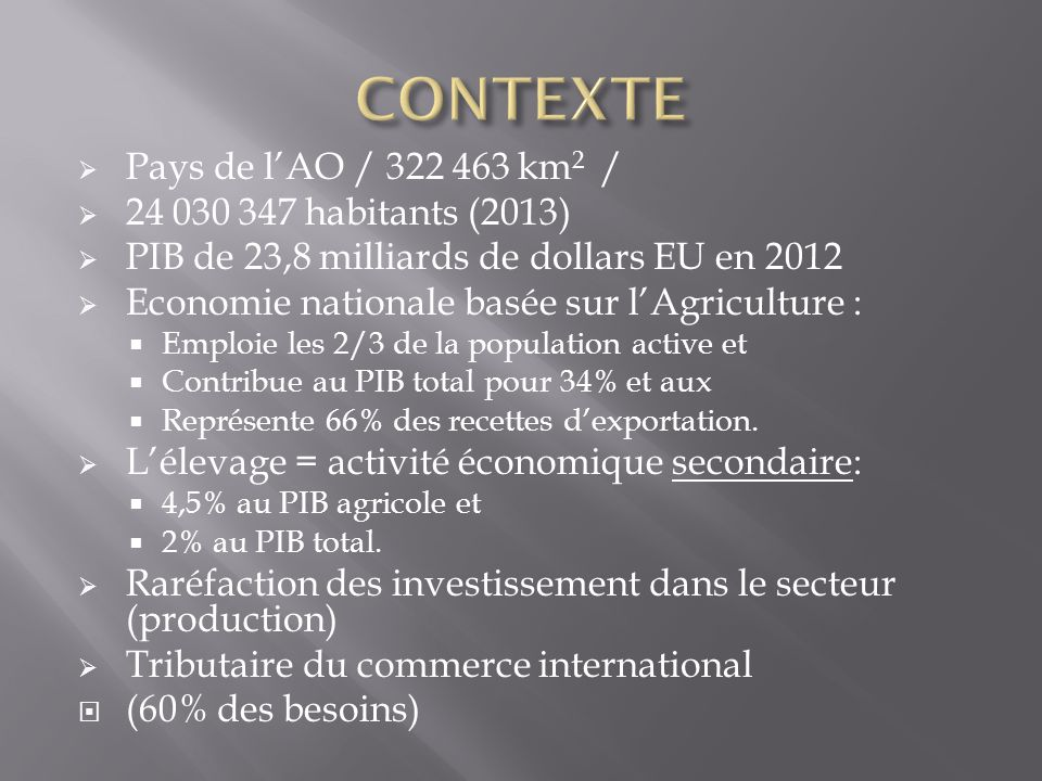 CONTEXTE Pays de l'AO / 322 463 km2 / 24 030 347 habitants (2013)