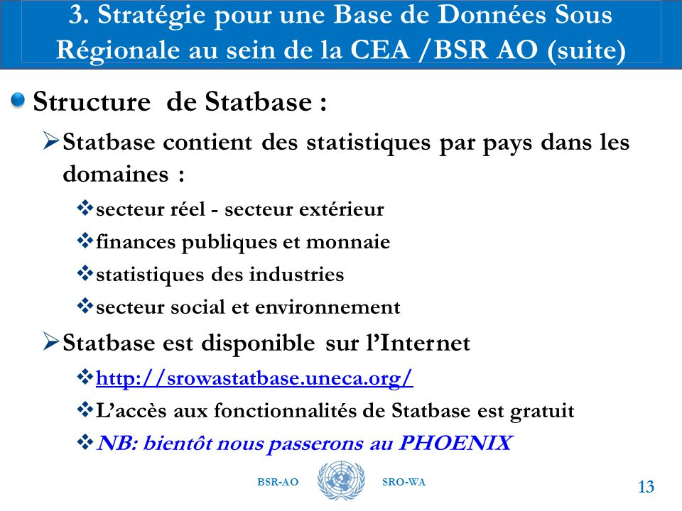 Structure de Statbase :
