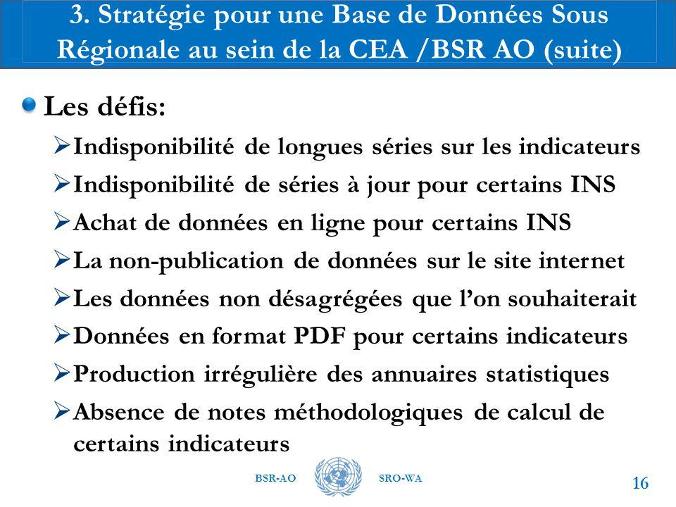 3. Stratégie pour une Base de Données Sous Régionale au sein de la CEA /BSR AO (suite)